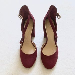 Jessica Simpson burgundy heels sandals pumps 7.5